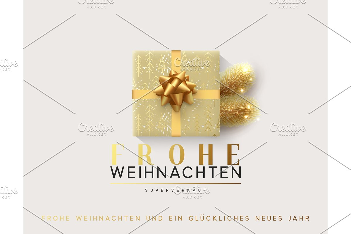 Text Frohe Weihnachten.German Text Frohe Weihnachten Vector Illustration Letttering Merry Christmas Gift Box Closed Wrapped Ribbon With Bow