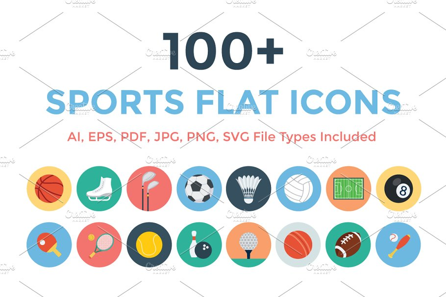 100+ Sports Flat Icons