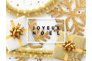 French text Joyeux Noel. Christmas background.