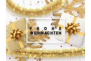 German text Frohe Weihnachten.