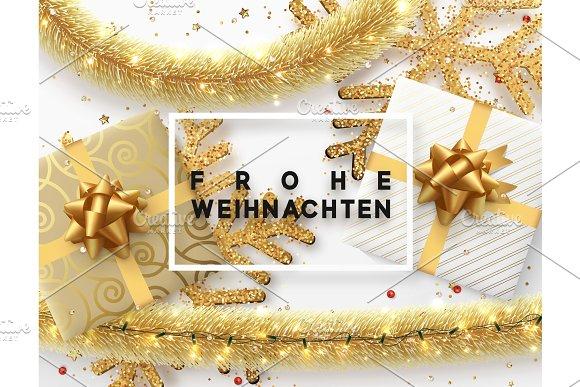 German text Frohe Weihnachten. ~ Graphic Objects ~ Creative Market