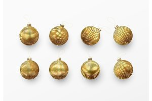 Christmas balls or baubles gold color.
