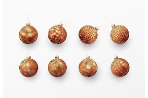 Christmas balls or baubles red color.