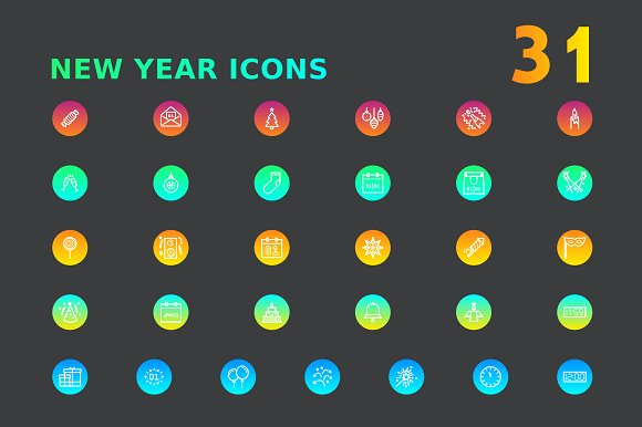New Year Icons