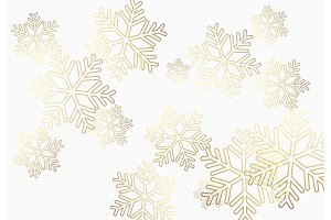 Winter holiday pattern with golden snowflakes background