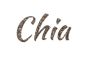 Chia seeds background. Word Chia on white