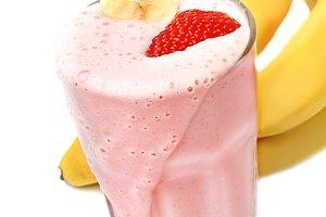 banana strawberry milk smoothie
