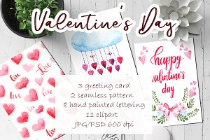"Watercolor set - ""Valentine's Day"""