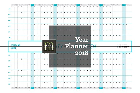 year planner 2018 yp003 18 stationery templates creative market
