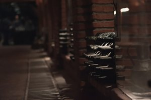 Dusty bottles with wine in Kvareli w