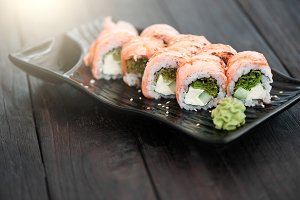 Sushi roll with salmon and avocado