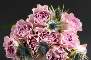 Pink roses in a vase.