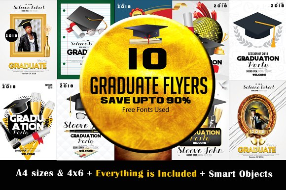 10 Graduate Flyer Bundle Vo-Graphicriver中文最全的素材分享平台