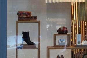 Shop window with shoes, bag