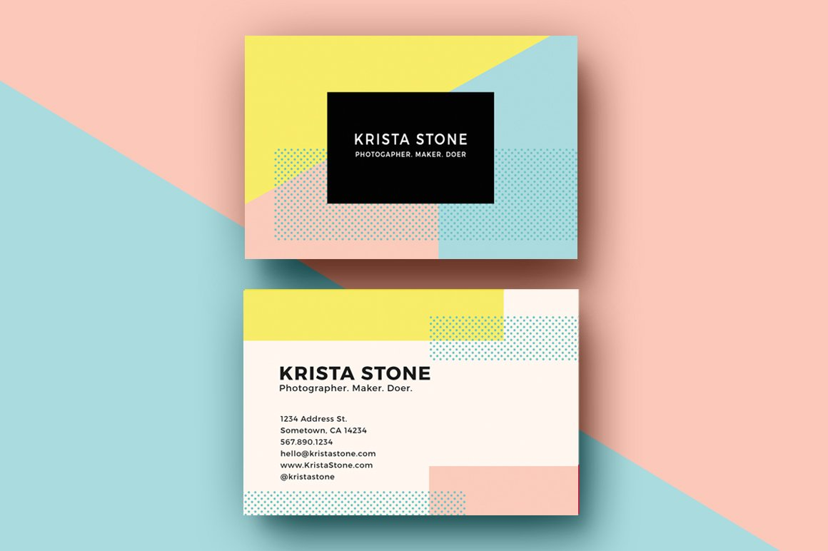 Geo shapes business cards template business card for Photo business card template