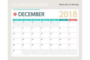 DECEMBER 2018, illustration vector calendar or desk planner, weeks start on Monday