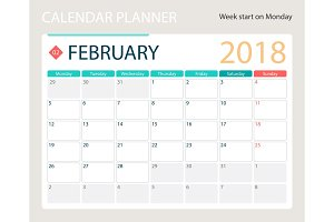 FEBRUARY 2018, illustration vector calendar or desk planner, weeks start on Monday