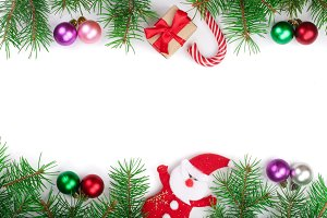 Christmas frame decorated with balls isolated on white background with copy space for your text