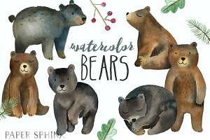 Watercolor Bears Clipart
