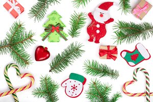 Christmas background with fir branches and Santa Claus isolated on white background. Top view. Flat lay