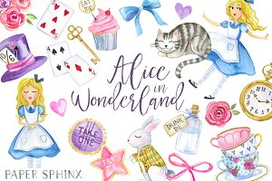 Alice in Wonderland Clipart Set
