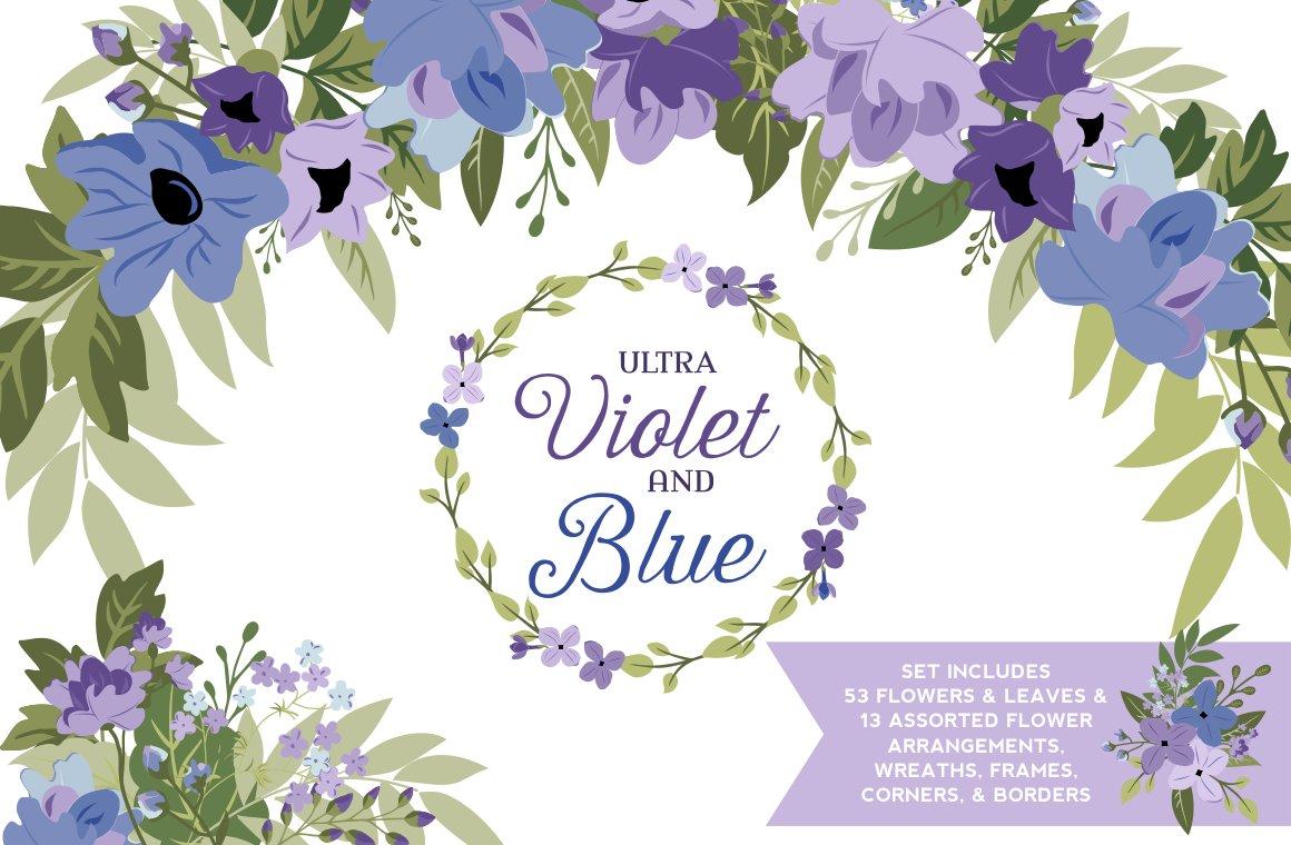 Ultra Violet Blue Flowers Greenery Illustrations Creative Market