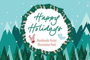 DIY Holiday Card Vector Bundle