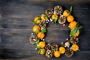 Tangerines clementine with leaves an