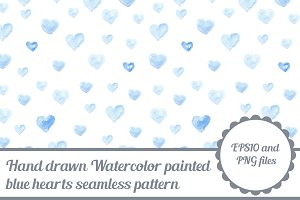 Watercolor seamless pattern - hearts