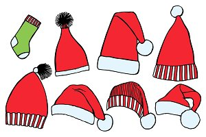 Set doodle Christmas hats socks