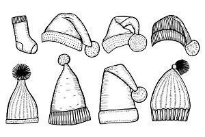 knitted hats isolated