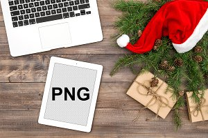Office desk Christmas decoration PNG