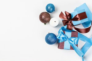 gift box with ribbon in blue and br