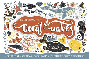 Coral waves. Font and clip arts.
