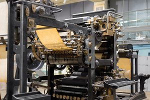 Old Press printing machine closeup