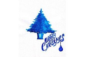 Blue Christmas tree. New year