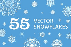 55 Vector Snowflakes Set