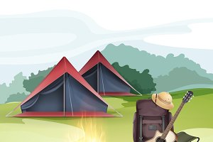 Camping zone with tent