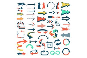 Arrow icons vector set arrowheads direction or cursed arrow design up down narrow circle sign collection illustration isolated on white background