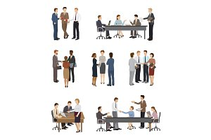 Business people vector team or group of professional people work in office and businessmen working in teamwork together or meeting with workers isolated on white background illustration