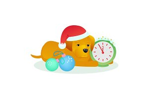 Christmas dog pet vector animal puppy in santa hat on Xmas or Happy New year holiday celebration with gift presented to doggy isolated on white background illustration