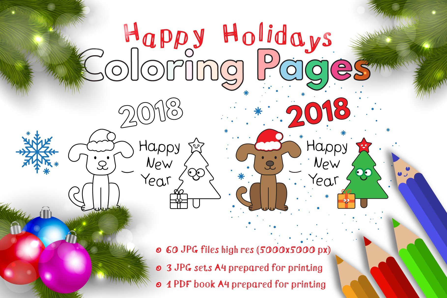 Happy Holidays Coloring Pages Custom Designed Illustrations Creative Market
