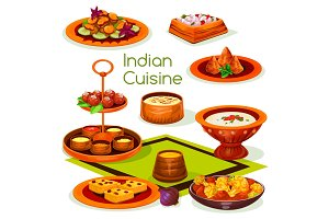 Indian cuisine lunch with traditional asian food
