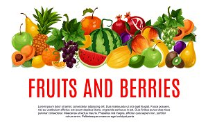 Fruit and berry banner with border of farm product