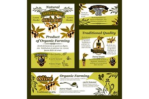 Olive oil and fruit banner of organic product