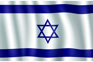 Israel flag 3d illustration with Star of David