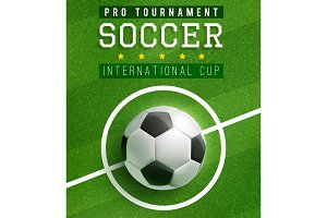 Football match poster template with soccer ball