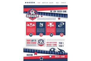 Soccer or football sport club landing page design
