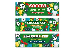 Soccer or football sport game championship banner