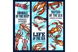 Seafood sketch banner of deep sea fish and animal
